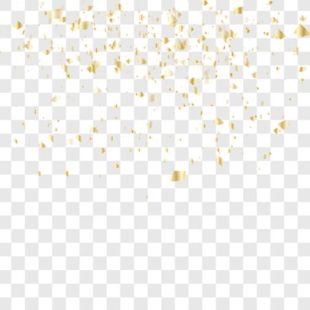 confeti de oro cae aislado. Ilustración del vector. Muchos de confeti cayendo