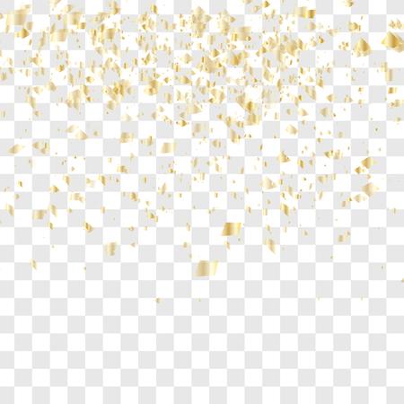 Golden confetti falls isolated. Vector illustration. Many falling confetti Vector Illustration