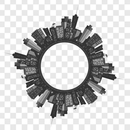 Vector de la ciudad moderna. Fondo del paisaje urbano para su diseño, el arte urbano. Edificios Foto de archivo - 56823010