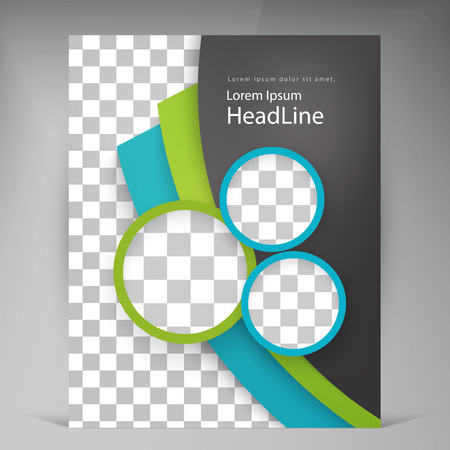 Abstract vector modern flyers brochure. Business brochure flyer design layout template in A4 circles  イラスト・ベクター素材
