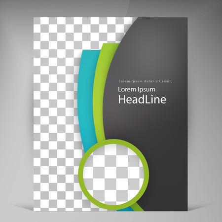 抽象的なベクトル現代チラシ パンフレット。ビジネス パンフレット チラシ デザイン レイアウト テンプレート A4 円