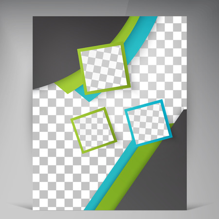book pages: Abstract vector modern flyers brochure. Business brochure flyer design layout template in A4 squares Illustration