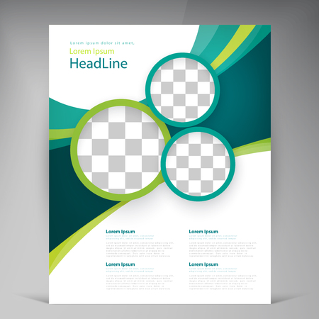 brochure cover design: Vector abstract template design leaflet, flyer, poster, brochure, cover with turquoise and green multilayer stripes and round frames Illustration