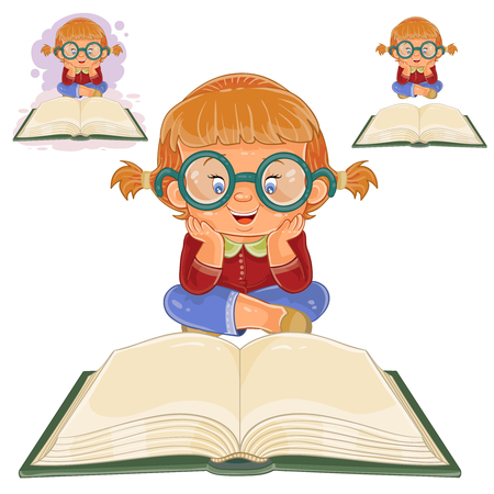 Vector illustration of small girl with glasses sitting and reading a book