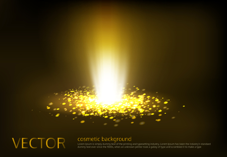 Vector illustration of a golden light ray with glitter, a light beam