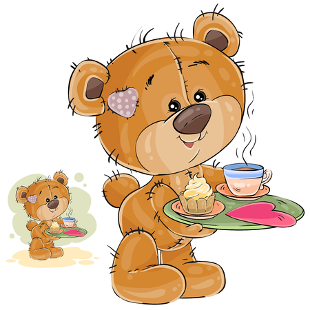 Vector illustration of a loving brown teddy bear carrying a tray with breakfast and a valentine lying on it Illustration