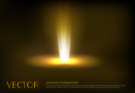 Vector illustration of a golden light ray, a light beam, a glow effect, an explosion, a flash on a black background.