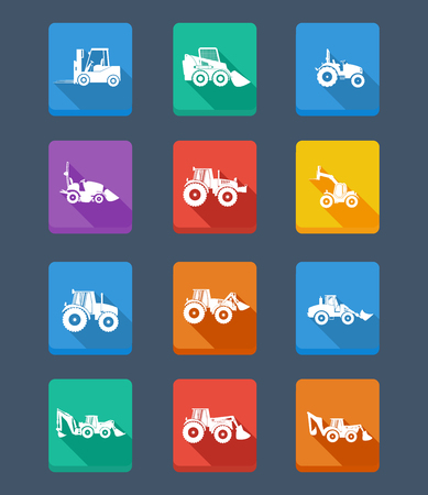 skid steer: collection tractor and gray silhouettes. icons. Design background