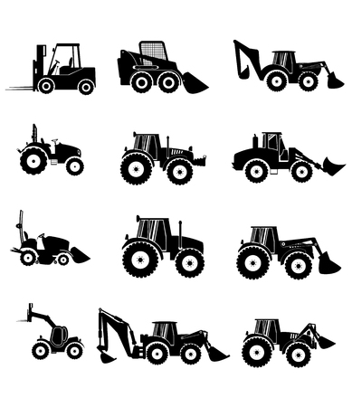 skid: collection tractor and gray silhouettes. sign icons Stock Photo