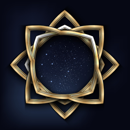 Vector illustration of a golden vintage frame with night starry sky inside it isolated on black. Illustration