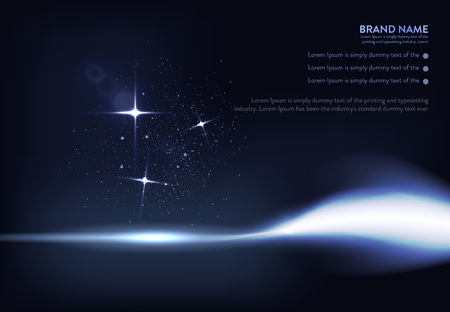 A vector illustration of dark blue banner with glowing light effect with rays and lens flares.