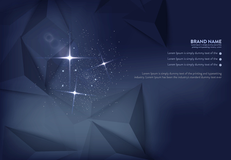radiance: Vector illustration of dark blue banner with glowing light effect with rays and lens flares