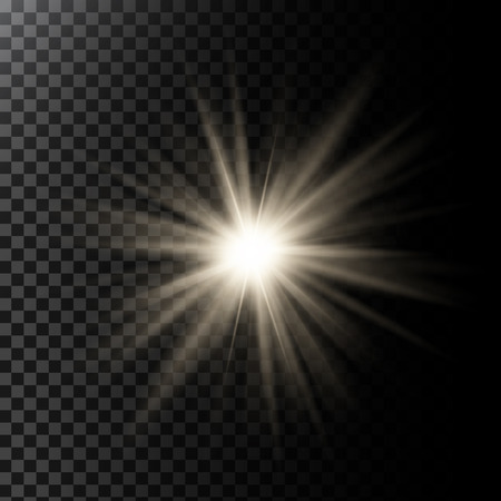 Vector illustration of a glowing light effect with rays and lens flares Illusztráció