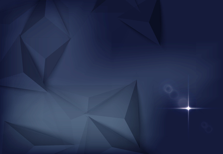 Vector illustration of dark blue banner with glowing light effect with rays and lens flares