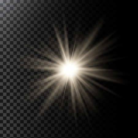 Vector illustration of a glowing light effect with rays and lens flares Illustration