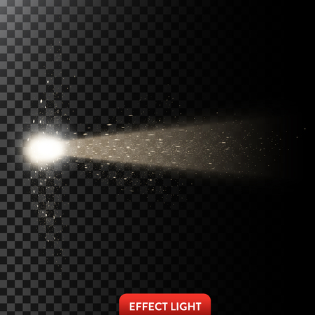 Vector illustration of a golden light ray with glitter, a light beam with sparks