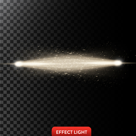 Vector illustration of a two golden light rays with glitter, a light beams with sparks