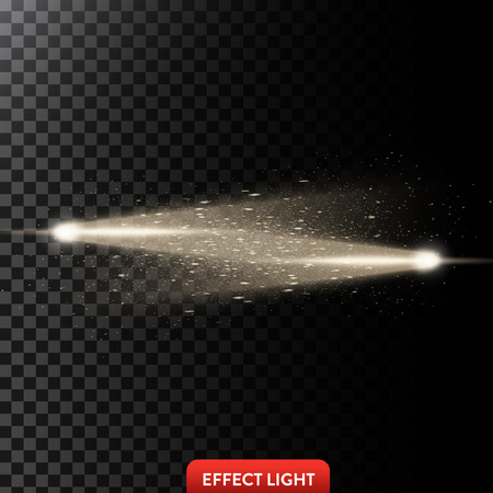 fade: Vector illustration of a two golden light rays with glitter, a light beams with sparks