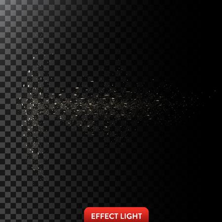 Vector illustration of a flow of sparkling golden sparks, glowing particles on a translucent dark background. Design element