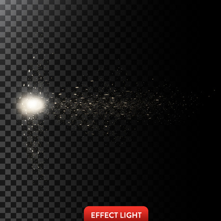 fiery: Vector illustration of a flow of sparkling golden sparks, glowing particles with light spot on a translucent dark background. Design element Stock Photo