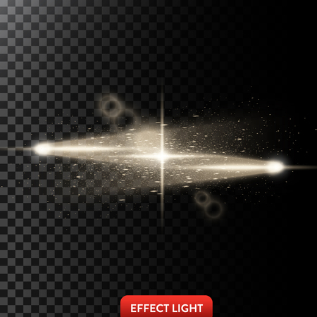 Vector illustration of a two golden light rays with glitter, a light beams with sparks, a glow effect, an explosion, a flash on a black background. Design element Stock fotó