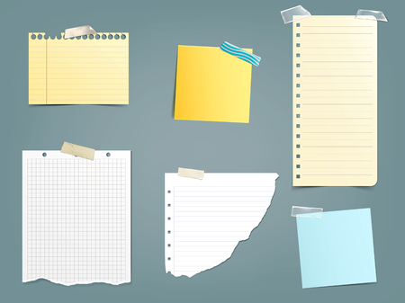 tack: Collection of vector illustrations different paper notes in a realistic style isolated on a gray