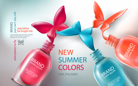 Vector illustration in realistic style collection of colored open bottles with nail polish spilled in form of butterflies. Advertising posters for promoting of premium product, advertising nail salon Illusztráció