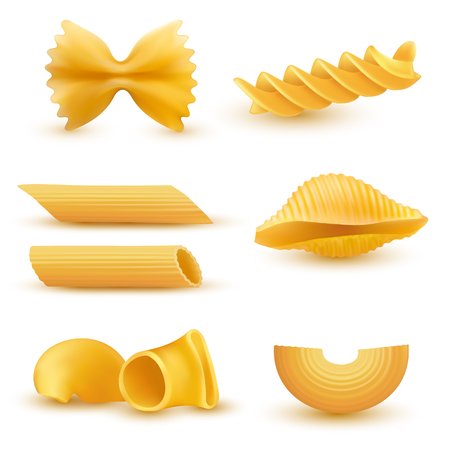 Illustrazione vettoriale set di icone realistiche di maccheroni secchi di vari tipi, pasta, fusilli, conchiglio, rigatoni, farfalle, penne isolato su sfondo bianco