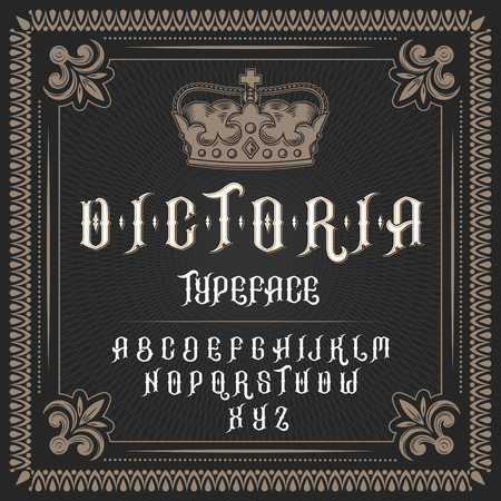 Vector illustration of a vintage font, typeface in medieval ancient style, Latin alphabet with victorian frame and royal crown. Template, design element Illusztráció