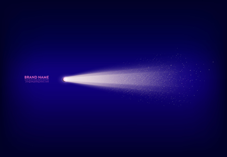 Vector illustration, abstract purple banner with spotlight, flashlight, light beam, ray of light with white sparks. Design element for advertising poster