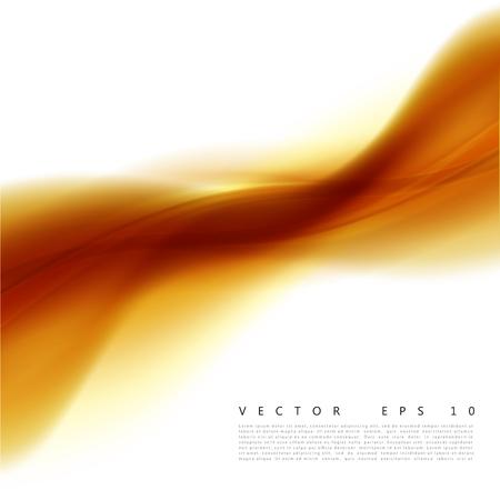 Vector illustration of an abstract orange wavy background. A smooth layered yellow-orange wave, line. Design element Illusztráció