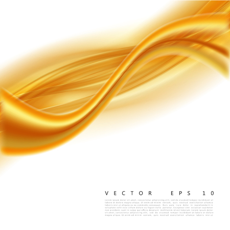 layered: Vector illustration of an abstract orange wavy background, smooth layered transparent yellow-orange wave, line with light effect. Design element
