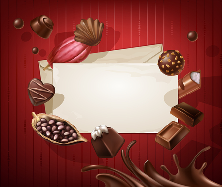 Vector illustration of a frame for the title with a pattern of chocolates on a red background