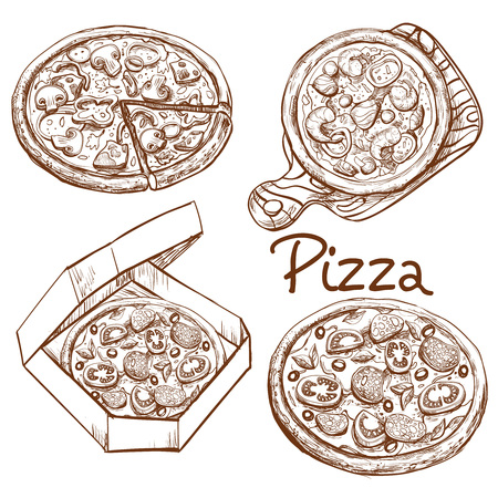 Set of vector illustrations in engraving style, whole pizza and slice, pizza on wooden board, pizza in box for delivery. Prints, templates, design elements for menu, signage, advertisement isolated Illusztráció