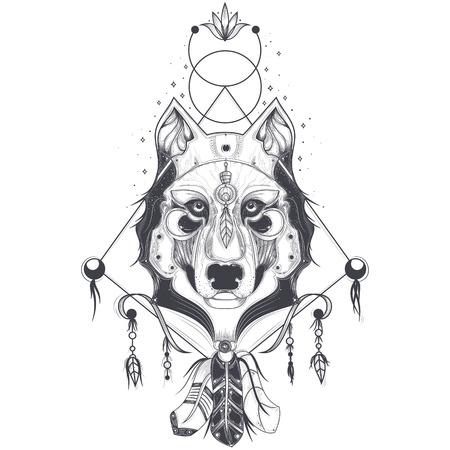 Vector illustratie van een vooraanzicht van een wolf hoofd, geometrische schets van een tattoo, print. Abstract etnische stam patroon.