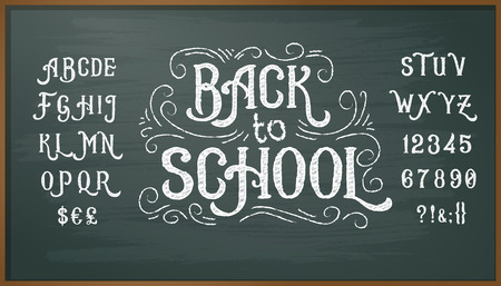 Vector illustration of retro font, capital letters, numbers and symbols written in white chalk on a blackboard. Template, design element for a signboard, advertising Illusztráció