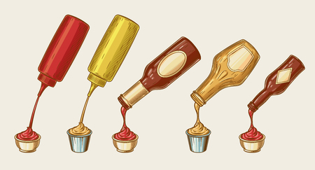 Vector illustration of an engraving style set of different sauces are poured from bottles into bowls. Ketchup, mayonnaise, mustard, chilli sauce and others Illustration