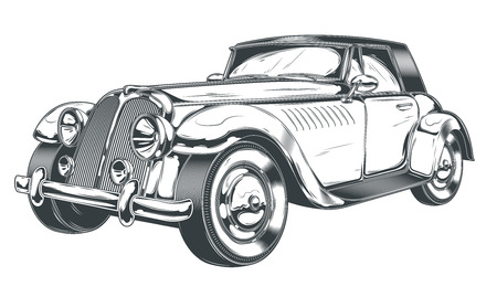 Vector black and white illustration of retro car in engraving style, isolated on white background. Print, template, design element Illusztráció