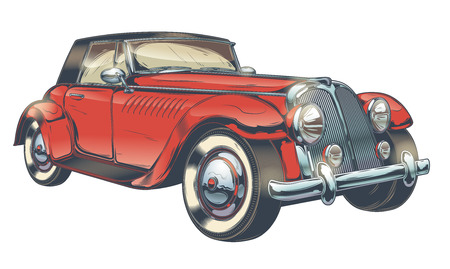 Vector uitstekende illustratie van rode retro auto in gravurestijl, die op witte achtergrond wordt geïsoleerd. Print, sjabloon, ontwerpelement