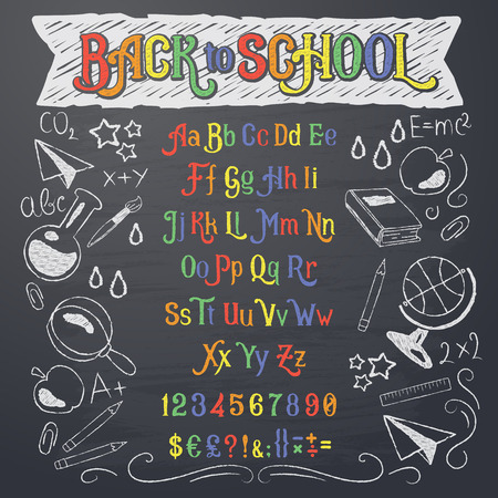 Vector illustration of retro font, capital letters, numbers and symbols written in white and color chalk on a blackboard. Template, design element for a signboard, advertising