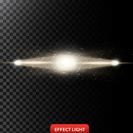 Vector illustration of a two golden light rays with glitter, a light beams with sparks, a glow effect, an explosion, a flash on a black background. Design element Illusztráció