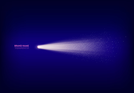 Vector abstract purple banner with spotlight, flashlight, light beam, ray of light with white sparks