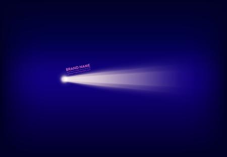 Vector abstract purple banner with spotlight, flashlight, light beam, ray of light