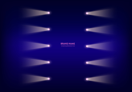 Vector abstract purple banner with neon spotlights, flashlights on the wire, light beams, rays of light