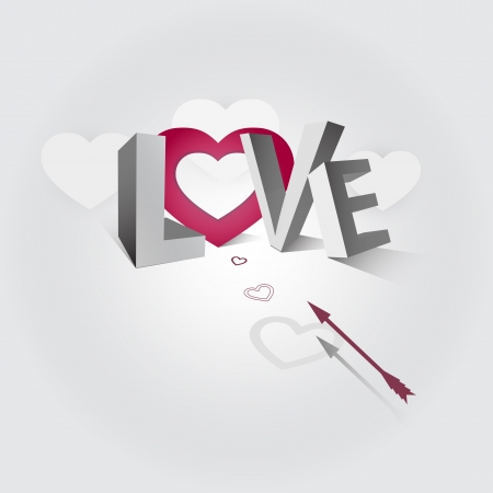 Illustration of the word love and arrow flying to the heart Vector