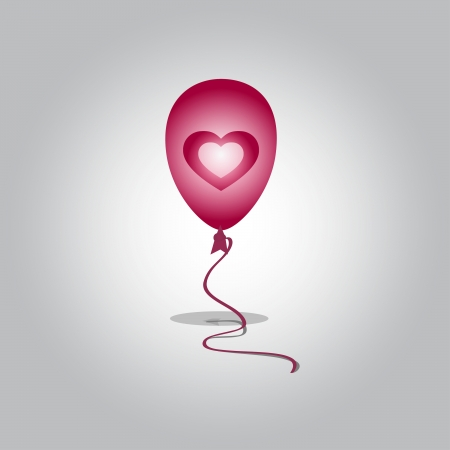 beguin: Flying balloon with heart Illustration