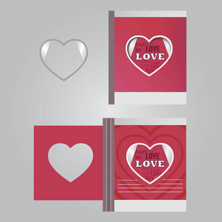 fateful: Template сards with a heart and the words of love Illustration