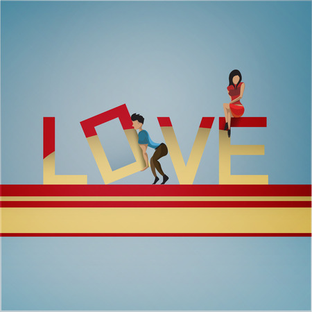 The man raises letter - the concept of love Vector