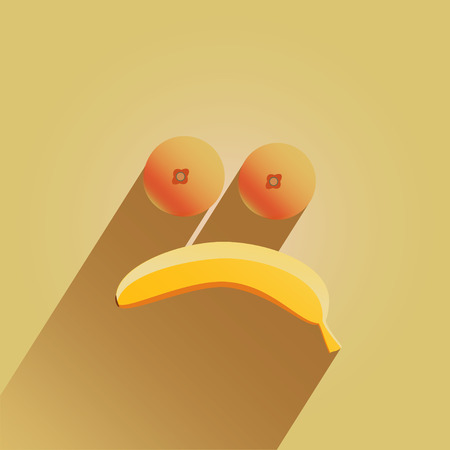 Sad-face made from bananas and oranges Stock Vector - 25953794