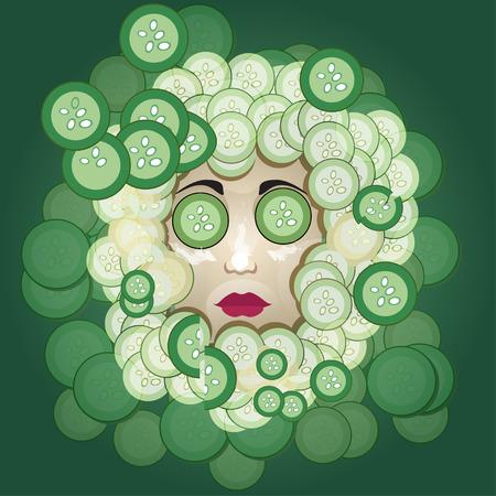 elasticity: Cucumber mask Illustration